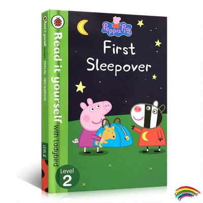 英文原版Peppa Pig: First Sleepover  Read It Yourself with Ladybird Level 2粉紅佩佩豬小妹兒童親