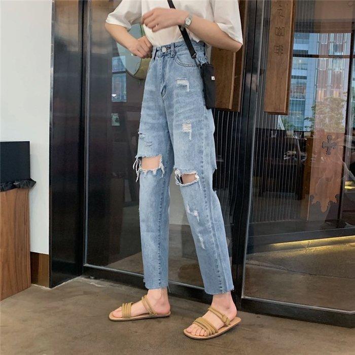 乞丐褲女破洞顯瘦夏裝新款韓版寬松直筒chic百搭學生洋氣牛仔長褲  衣品居 YPJ