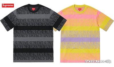 【超搶手】全新正品 2019 SS Supreme Text Stripe Jacquard SS Top 滿版LOGO