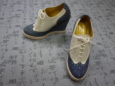英國製 T&F Slack Shoemakers 麂皮厚底鞋 楔型鞋 USA 5 EUR 34 JPN 22 CM