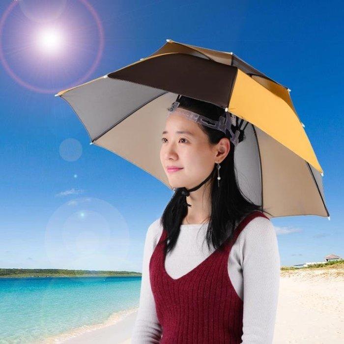 帽傘雙層8骨釣魚傘帽軟膠頭戴式雨傘防曬頭頂遮陽帽戶外垂釣斗笠