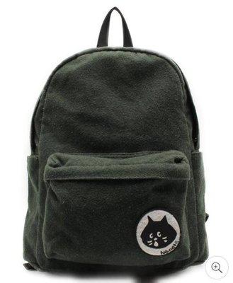 Nya-深綠色毛料後背包 驚訝貓 Ne-net 三宅一生副牌 二手精品 二手包 古著 Nya- Nya 日牌 日本品牌