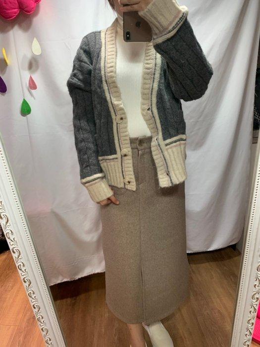 [黃 O BA] 韓國 學院風 V領 針織 口袋 外套 上衣 灰  正韓 簡約時尚 可樂果 韓妮 CHAN 心田 樂朵