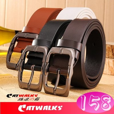 台灣現貨  * Catwalks 搖滾の貓 * 經典版加長加厚款牛皮日字扣皮革腰帶 ( 黑色、深咖啡、淺咖啡、白色 )