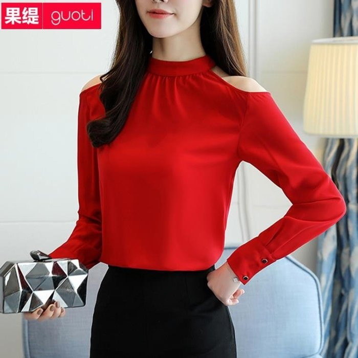 雪紡衫女長袖紅色小衫2018春裝新款正韓顯瘦露肩百搭超仙氣質上衣