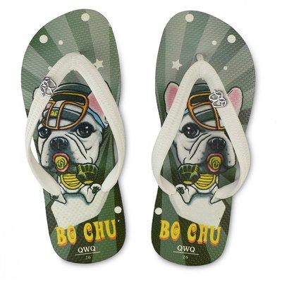 QWQ男款天然橡膠夾腳拖- Bo Chu款 黑底法鬥帽子風格 防滑軟Q好穿鞋帶保固 阿法.伊恩納斯