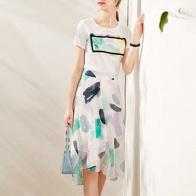 ♈尹愛服飾♈高端3007300氣質水墨T卹+幾何印花不規則半裙兩件套裝