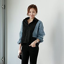 Bellee  正韓   拼接輕牛仔刷破袖長袖襯衫上衣  【FF6】預購