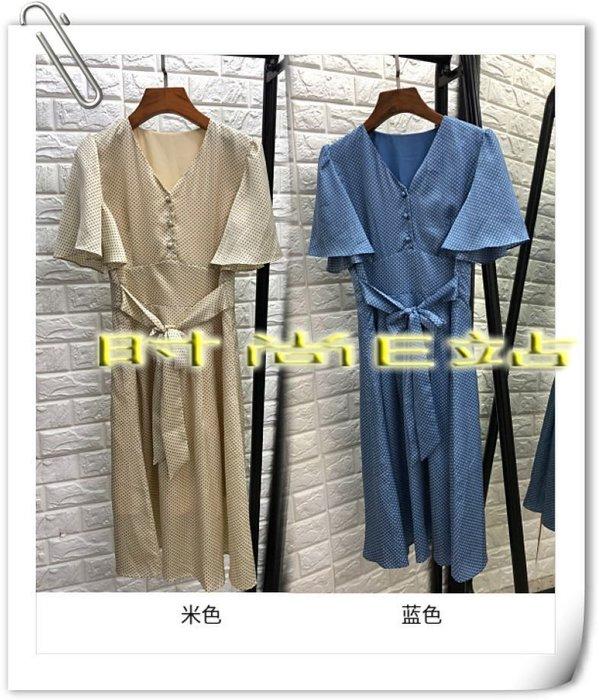 時尚E站【~SSEZ~】7117063055 歐美波點包扣V領系帶長洋裝