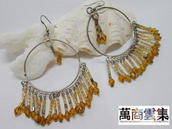 [萬商雲集] 全新 民族風 銀耳環【圓圈垂墜感、細緻優雅】黃色仿琉璃 手創耳環