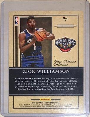 2020年選秀狀元 錫安 威廉森 Zion williamson Hoops class RC新人卡