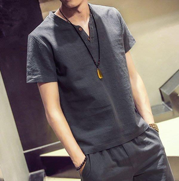 2017夏裝男士日系亞麻短袖 休閑復古棉麻半袖V領T恤