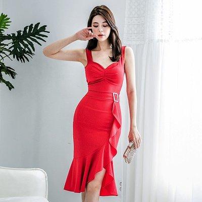 【Sweet 韓國連線】韓版無袖性感修身不規則小禮服連身裙洋裝-S~L 9189【現貨+預購】