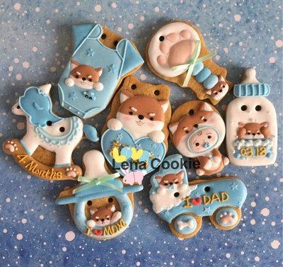 可接急單 收涎餅乾 狗寶貝系列 8片 男寶寶 藍色系 糖霜餅乾 生日禮物 手工餅乾 不挑款(Lena Cookie)