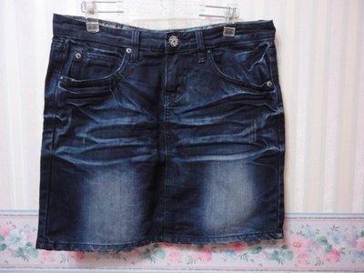 G-LUMI~燙鑽口袋骰子綴飾牛仔裙~SIZE:M~1元起標