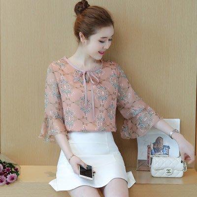 小碎花喇叭袖雪纺衫夏装韩版新款女装时尚优雅显瘦印花色中袖上衣