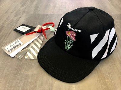 LINE@ruby111大小姐㊣現貨 OFF-WHITE刺繡花朵帽子 休閒運動 黑色 棒球帽