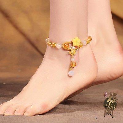 古風民族 風腳鏈復 古百搭成 人個性清 新性感夏 季腳飾品 瑪瑙足鏈 女