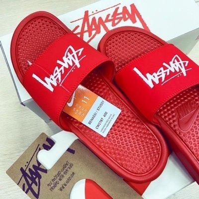 現貨 NIKE x STUSSY BENASSI 紅色US10 運動拖鞋 聯名款