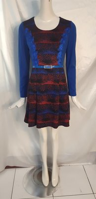 H78 專櫃服飾I PENNA 寶藍玫瑰刺繡 淑女風 連身裙洋裝 L號