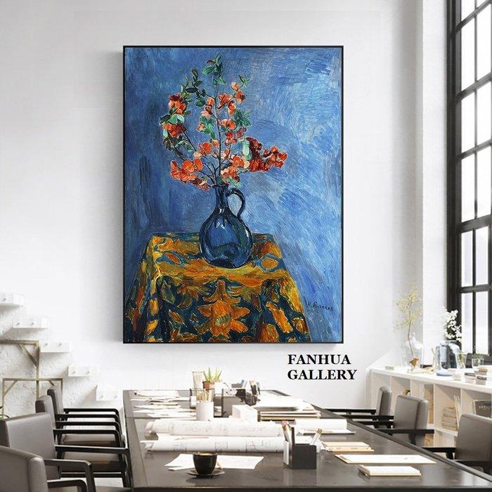 C - R - A - Z - Y - T - O - W - N 漢斯普爾曼藍色花瓶油畫餐廳靜物掛畫臥室書房文藝裝飾畫房間床頭油畫客廳餐廳辦公室藝術家版畫壁畫
