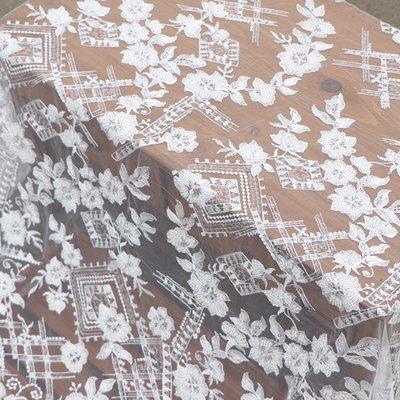 橙子的店 W240原高定白色立體釘珠刺繡網紗蕾絲布面料連衣裙服裝輔料