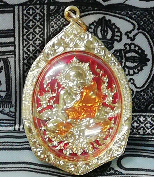 佛曆2557年僧王寺開光加持泰國九大神僧之一龍普托自身相佛牌(金框彩繪原裝廟殼)