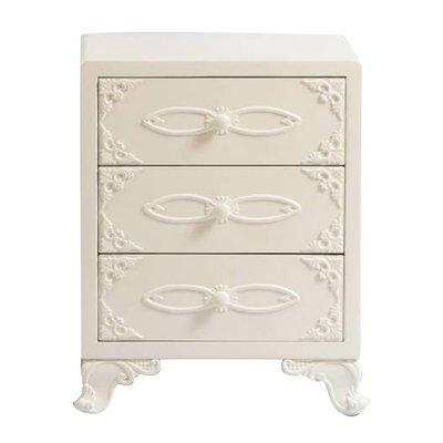 英式樺木+E1級密集板維多利亞風亮白雕刻床頭櫃JY15110-A