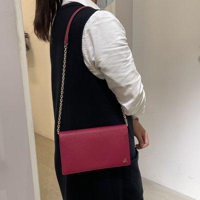 全新 Agnes b 紫紅色 灰色 酒紅色 WOC 草寫b 肩背包 斜背包 鏈帶包 鍊包 牛皮 防刮 正品 撞色 雙色