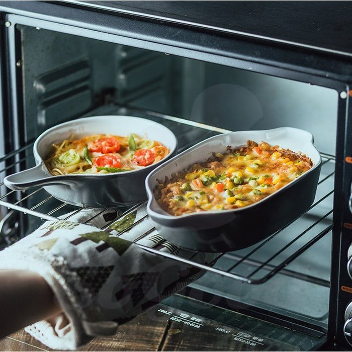 陶瓷碗-焗烤飯碗 盤 水果沙拉盤 烘焙陶瓷碗 帶柄湯碗 烤箱專用碗(長方形)[好餐廳_SoGoods優購好]