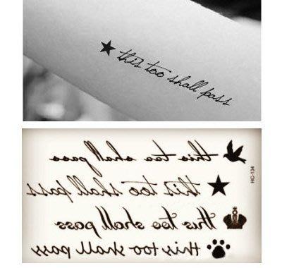 【萌古屋】草寫英文與飛鳥 - 男女防水紋身貼紙原宿刺青貼紙HC-134
