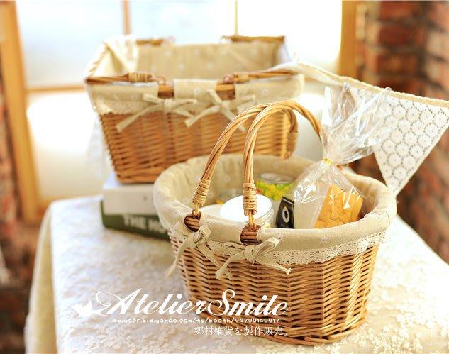 [ Atelier Smile ] 鄉村雜貨  手工藤編  收納籃 雜物籃 花籃 野餐籃 家居 # 小 (現+預)