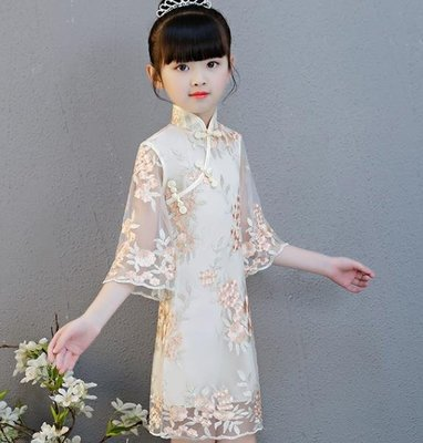兒童旗袍女童冬風公主喇叭袖連衣裙小女孩古箏演出服改良唐裝
