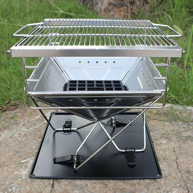無憂戶外 中號304不銹鋼折疊燒烤爐戶外折疊烤爐戶外火爐火盆韓國烤爐烤架 KPLD-596