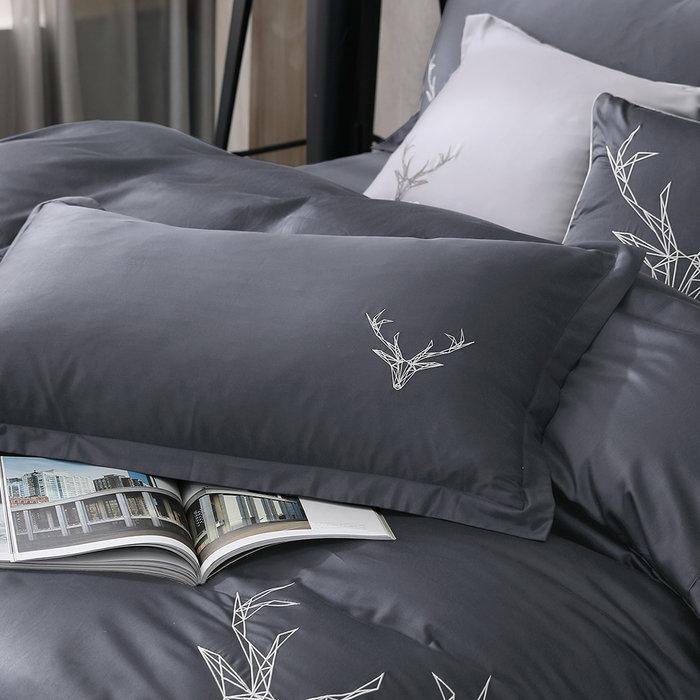 【OLIVIA 】DR901 Saul 鐵灰 標準雙人床包歐式枕套三件組 【不含被套】 300織精梳棉系列 台灣製