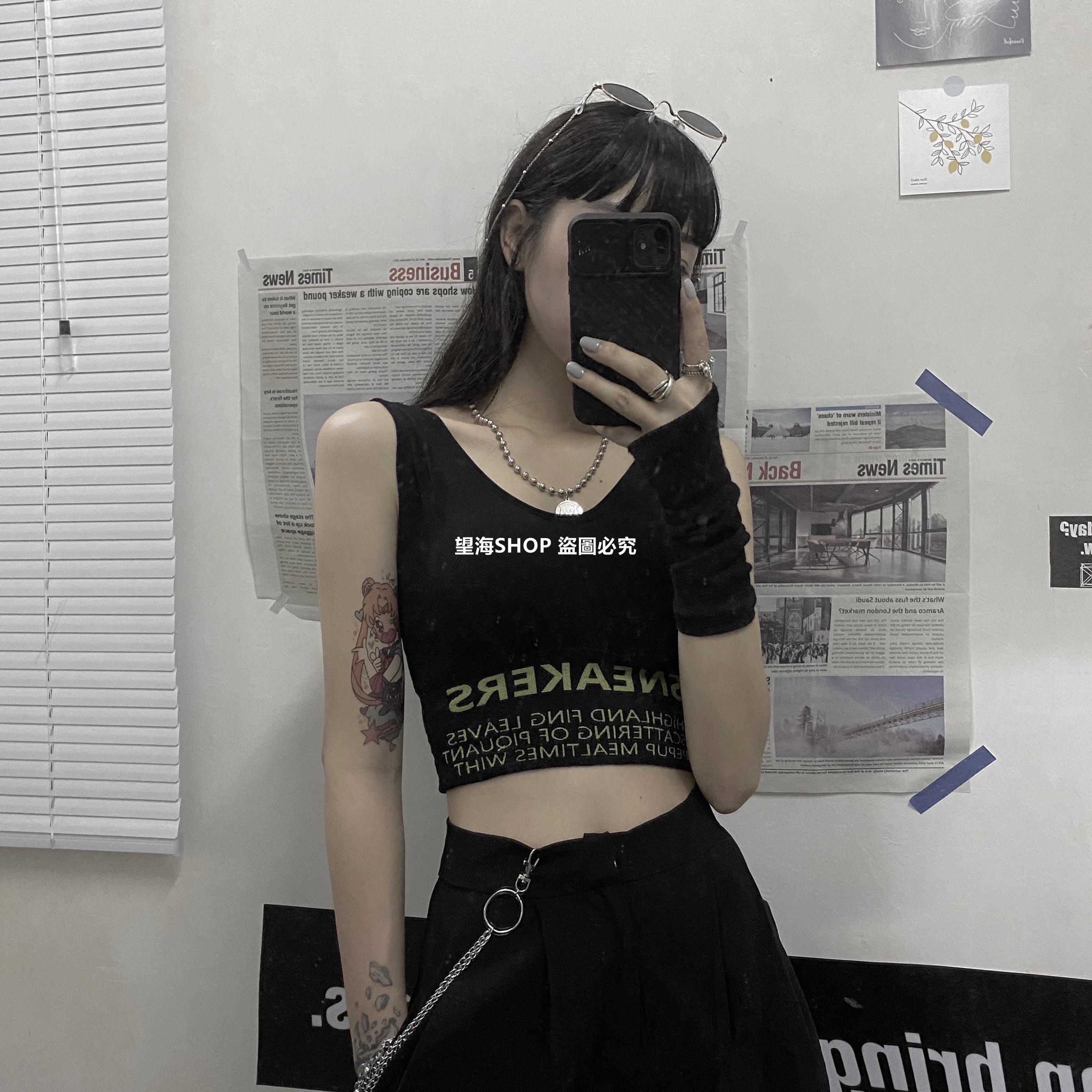 望海SHOP 背心女2020夏季潮新款INS字母印花短款帶胸墊修身款顯瘦學生運動上衣