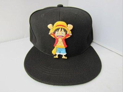 海賊王路飛矽膠牛仔布黑色帽子