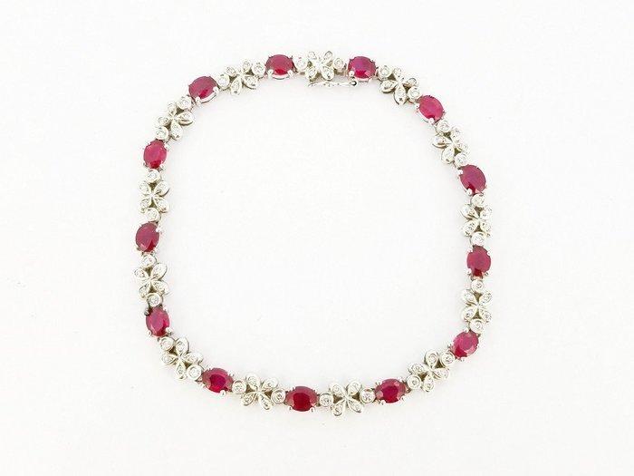 天然紅寶石鑽石手鍊