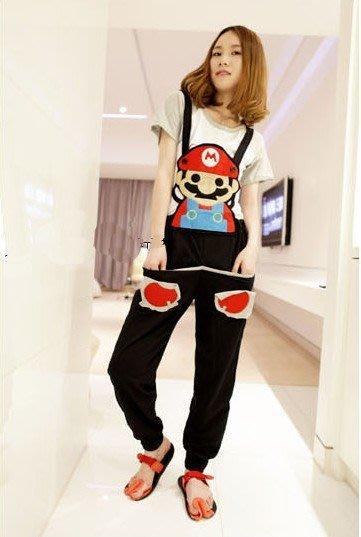☆Candy Box☆2015春秋新款韓版糖果色可愛超级瑪莉背帶褲 黑 Z2611751