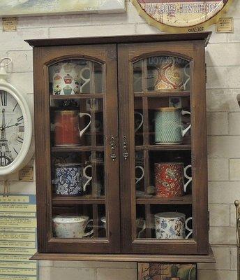 原木實木玻璃展示櫃 12格雙門壁櫃 馬克杯架 杯具櫃 杯盤架 杯盤櫃 收納展示壁架  不含展示杯具