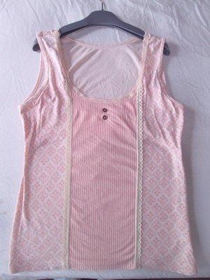 日本黛安芬正品粉紅色棉質居家休閒PEACH JOHN Une nana cool睡衣背心 有襯墊