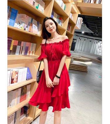 ❤Shinena 千奈公主❤正韓國連線  法式氣質一字肩雪紡連衣裙 F036