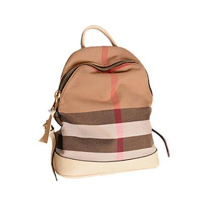 帆布格紋後背包 手提側背包 休閒時尚學院風背包(MKL)