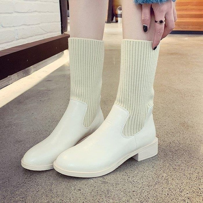 麥麥部落 彈力靴秋冬女鞋馬丁靴女英倫風中筒靴短靴瘦瘦襪子靴MB9D8