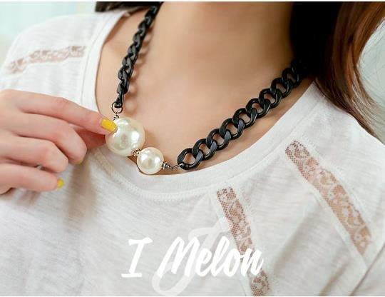 ::: i-MelOn ::: 100%韓國空運 正韓【現貨】時尚珍珠項鍊項鏈※金色/黑色