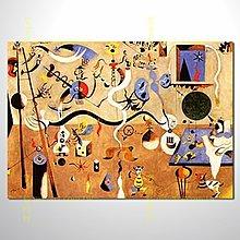 【買畫藝術村】米羅15 嘉年華的丑角 臨摹名畫 純手繪油畫 90*130
