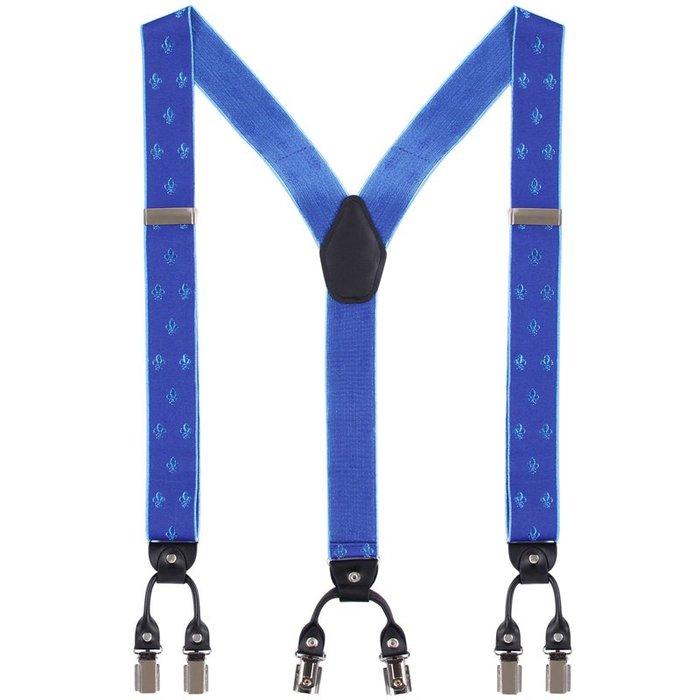 IFSONG 男士正裝彈力背帶男 吊褲帶肩帶夾子3.5CM藍色禮盒裝