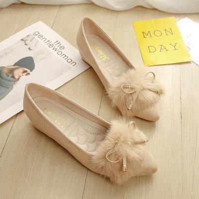 豆豆鞋女冬新款四季女鞋秋內增高兔毛平底鞋女毛毛鞋坡跟單鞋