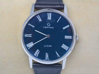 《寶萊精品》CERTINA 雪鐵納銀寶藍手動男子錶