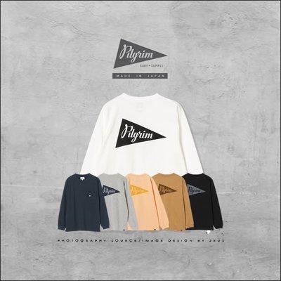 *ZEUS*Pilgrim Surf+Supply Pennant Print Tee/日本製x超厚磅x單口袋長袖T恤